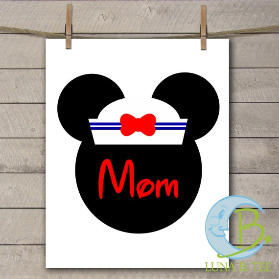 INSTANT DOWNLOAD Disney Family Vacation Cruise Sailor Hat  Mom Shirts Printable DIY Iron On to Tee T-Shirt Transfer - Digital File