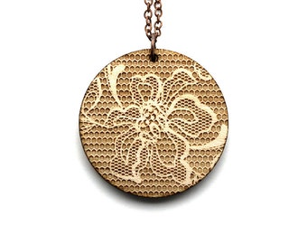 Round pendant with lace pattern - romantic necklace - graphic jewelry - wedding jewellery - lasercut maple wood - statement necklace