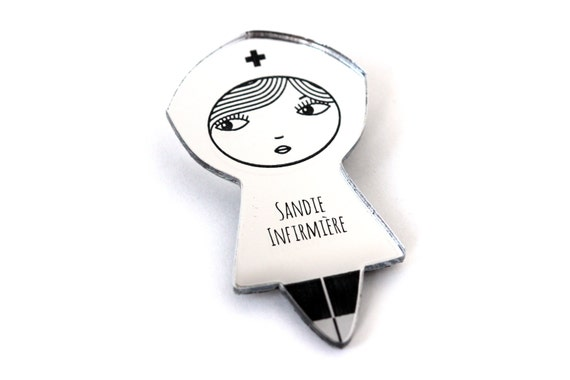 Personalized nurse brooch - doll pin - custom jewelry - name jewellery - hospital - graphic matriochka - lasercut acrylic mirror