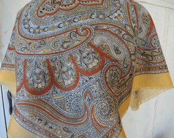 Vintage 1980s acrylic scarf paisley made in Japan 27 x 27 inches