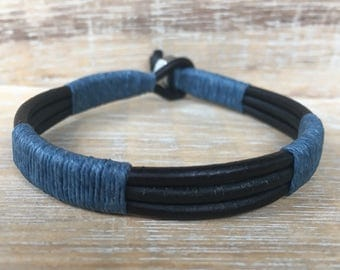 Men's Leather Bracelet, Mens Cuff Bracelet, Leather Wrap Bracelet, Unisex Bracelet, Black and Blue Bracelet, Boyfriend Gift, Brother Gift