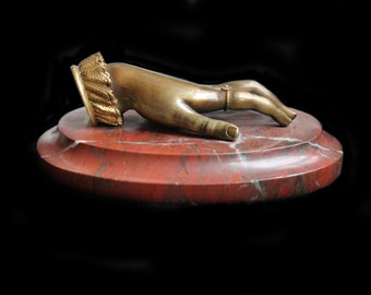 MoonsCuriousItems-Exquisite Grand Tour Bronze Ladies Hand Paper Weight W Detailed Cuff on Lovely Napoleon Marble Base