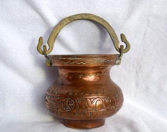 Vintage copper cauldron...etched copper cauldron...etched copper planter...small.