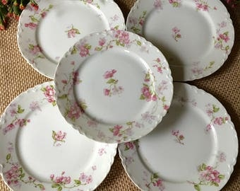 Haviland Limoges France Plate Set of 5 Blank One Ranson Schleiger 37 Apple Blossom Bread and Butter Plates