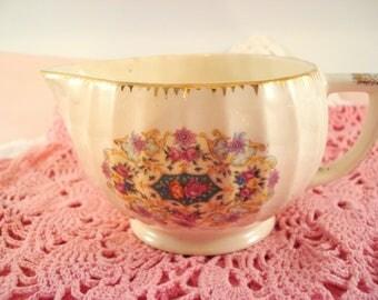 Vintage American Limoges Sebring China Creamer Melody Goldenware Shabby Cottage Chic Vintage Rare