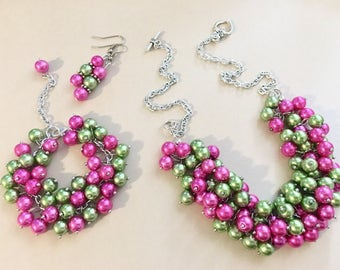 Pink & Green Cluster Set, Necklace earrings and Bracelet jewelry set, pearl jewelry, bridesmaids, wedding jewelry, green pink pearls