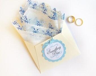 Something Blue, Vintage Handkerchief, Wedding Keepsake, Something Old, Wedding Shower Gift Best Friend Gift, Wedding Gift Bridal Hankerchief