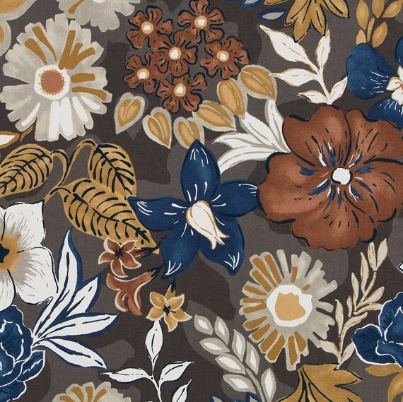 Contemporary Navy Blue Floral Fabric Copper Navy Upholstery