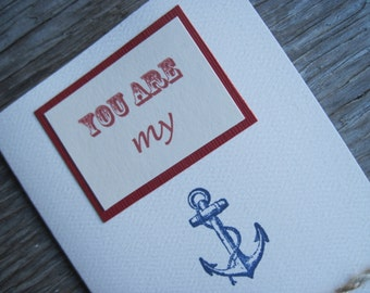 You  Are My Anchor Nautical Blank Note Card with Cream & Natural Jute Twine, Simple and Casually Elegant Maritime Greeting Card, 3 1/2 x 5