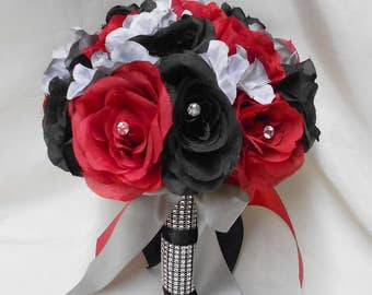 Wedding Silk Flower Bouquet Your Colors 2 pieces Black Red  Bride's Bouquet Silver Gray Hydrangeas with Boutonniere FREE SHIPPING