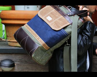 Waxed canvas FOLD OVER tote bag - laptop bag - military style - handmade - 010053