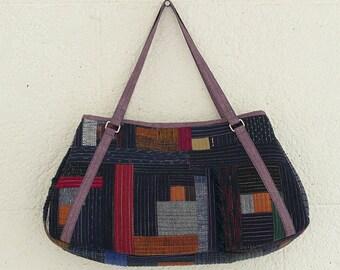 Japanese Kimono Boro bag, small shoulder bag, Kimono bag