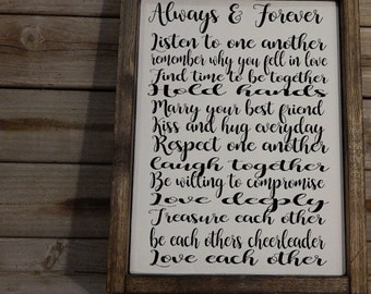 Always and forever ... Marriage Rules.. Personalized Just for You.. Solid Wood Sign