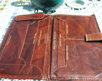Vintage 1960s Gorgeous brown leather travel wallet, Vintage Leather travel portfolio, great travelers gift, top grain cowhide