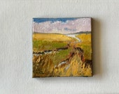"Tiny 3""x3"" oil painting. Saltwater Marsh stretched canvas miniature Maine  artist Adrienne Kernan LaVallee art and collectible"