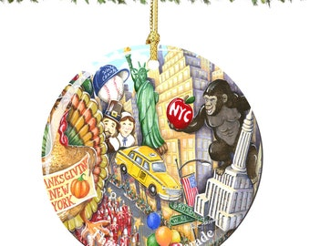 NYC Macy's Thanksgiving Day Parade Christmas Ornament in Porcelain featuring The Sights and Landmarks of New York City on Thanksgiving
