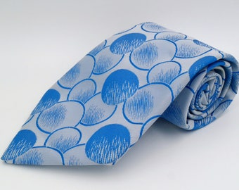 Vintage 1970s Wide Blue Polyester Tie with Bubble Pattern