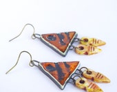 brown ethnic triangle earrings head arrow jewelry