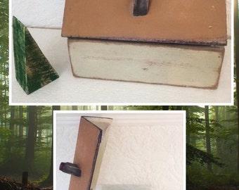 Rustic Folk Art Reclaimed Wood House Trinket Box
