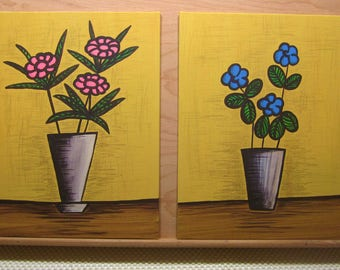 TWO Acrylic Paintings 9 X 12 Mid Century Modern