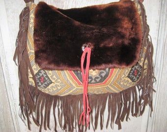 Southwest fabric purse, hand made bag, real brown fur bag, genuine fur crossbody purse, fringed purse, hippie boho bohemian bag, gypsy purse
