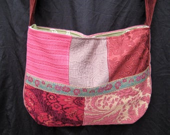 Patchwork pink tapestry purse, large gypsy bag, boho bohemian bag, market purse, hand made vintage fabric purse, crossbody bag