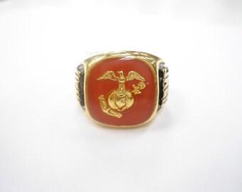 1 Goldplated U.S. Marine Ring and Pin Set