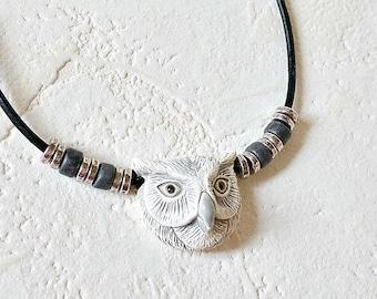 Owl Statement Necklace, Gray Owl Necklace, Owl Jewelry, Owl Pendant Necklace, Nature Jewelry, Bird Jewelry, Owl Totem Necklace, Owl Familiar