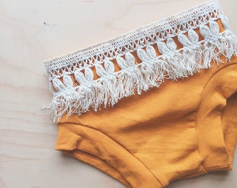 Mustard Jersey Knit Bloomers with Cream Fringe