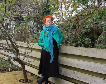 Shawl, gift, Christmas, wool, wrap, gift for her, shrug, triangle, wool, turquoise, scarf