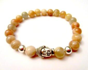 Sunstone Bracelet. Buddha Bracelet. Buddha Statue. Energy Bracelet. Gemstone Bracelet. Buddhist Jewelry. Yoga Jewelry. Wrist Mala. Reiki.