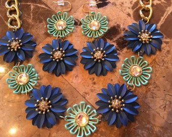 Flower Statement Necklace-Metal-Blue-Turquoise-One of a Kind-Designs by Stalinda