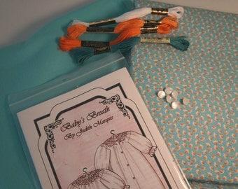 Aqua Posies Baby Bunting Pre-Pleated Smocking Kit, Ready to Sew Kit