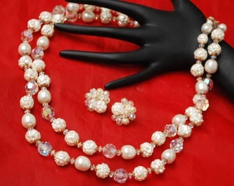 Vendome Necklace  and Earring set - White Baroque Pearl - Crystal Beads -wedding bride
