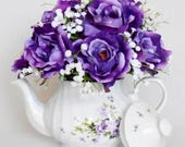 RESERVED FOR JACKIE:  Custom Silk Floral Teapot Arrangement, Lavender with Purple Roses, White Baby's Breath, Floral Teapot, Home Decor,