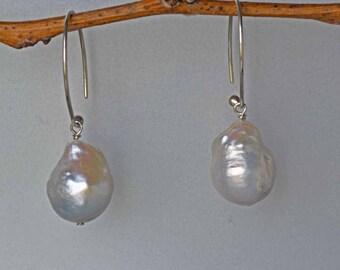 Extra Large Baroque Pearl Earrings in Silver- Baroque Pearl Earrings - Large Pearl Earrings-Bridal Earrings