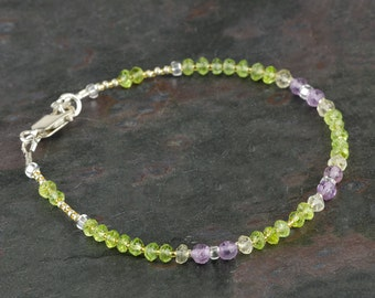 Micro Faceted Gemstone Bracelet with Genuine Peridot, Pink Amethyst, Lemon Quartz, Multicolor Bracelet, Green & Lavender, Multi Gem Bracelet