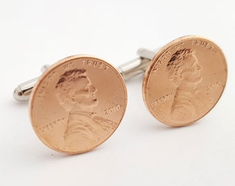 7th Anniversary Gift 2010 Penny Cufflinks Copper Anniversary Cuff Links
