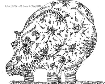 Intant Download Hippo Adult Coloring Page - Printable Colouring Page - Hippopotamus