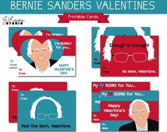 Digital Clipart-Bernie Sanders Valentines-Printable Valentine Cards-Bernie-Political Cards-Feel the Bern-Democrats-Instant Download Clip Art