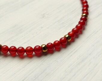 Red Bracelet - Carnelian Bracelet - Silver Bracelet - Girlfriend Gift - Beaded Bracelet - Valentines Gift
