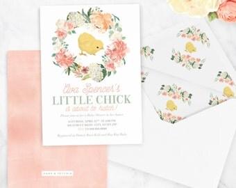 Spring Baby Shower Invitation, Little Chick Baby Shower Invitation, Springtime Baby, Easter Baby, Floral Invite, Envelope Liner