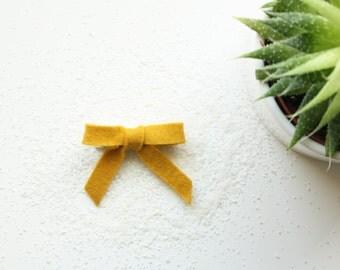 Mustard Felt Hair Bow  - Felt Hair Clip or Heabdand
