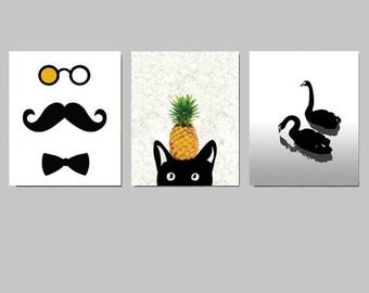 SET of 3 Art Prints 8x10in, Wall Art Prints, Illustration Prints, Modern Minimalist Black and White Home Decor,  3 Prints of YOUR CHOICE