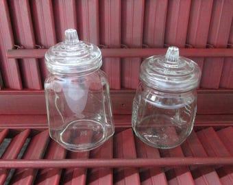 Pair of Hazel Atlas Small Apothecary Jars, Small Glass Lidded Bottles