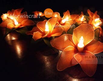 Battery or Plug 20 Orange Orchid Flower Fairy String Lights Hanging Party Patio Wedding Garland Gift Home Living Bedroom Holiday Decor 3.5m
