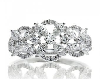 Marquise Diamond Wedding Anniversary Band