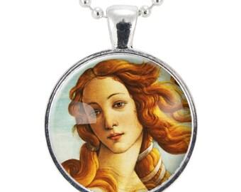 The Birth of Venus Necklace, Botticelli Art Pendant, Roman Goddess Jewelry (0619S25MMBC)
