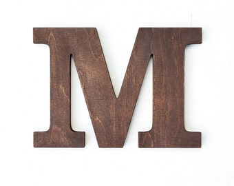 Wooden letters vintage decorative letter for wall stained brown home decor