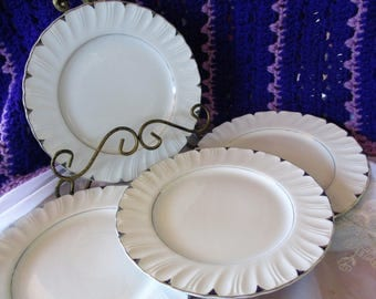 Harmony House Heirloom Salad  plates Circa 1960s Platinum accents and verge Set of 4  Very good China Galore Wedding China Tea Party  plates